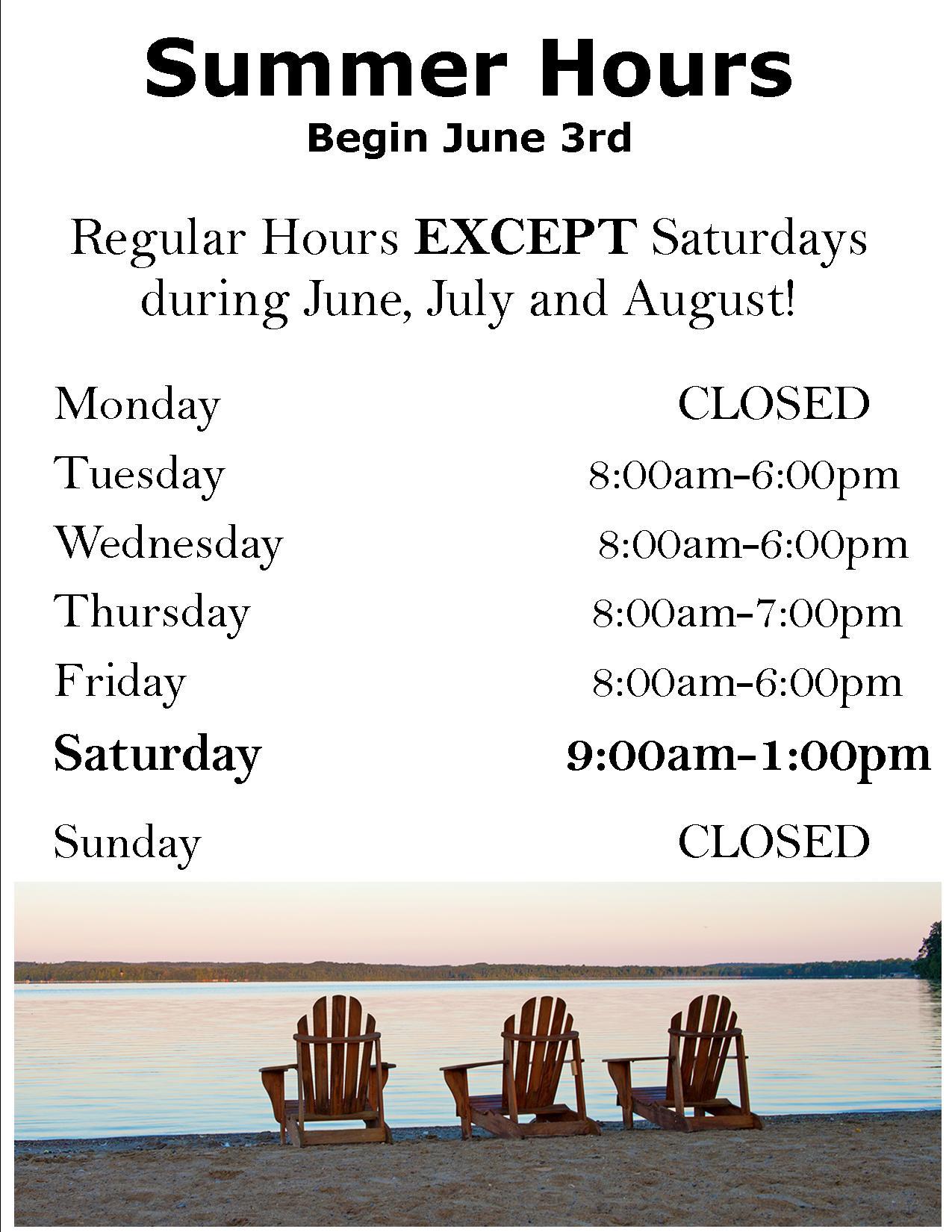 summer hours 2017